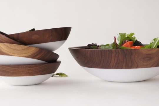 White & Walnut Salad Serving Set