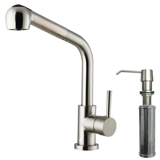 Vigo Avondale Single Handle Pull-Out Spray Kitchen Faucet with Soap Dispenser