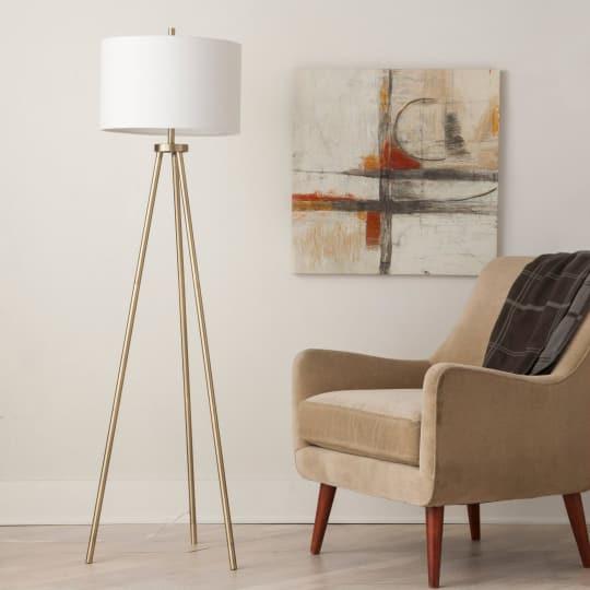 Tripod Floor Lamp - Antique Brass at Target