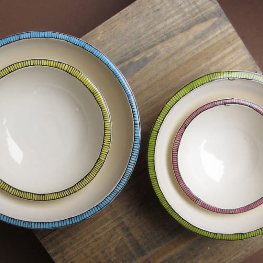 Four Colorful Nesting Bowls from Village Clayworks