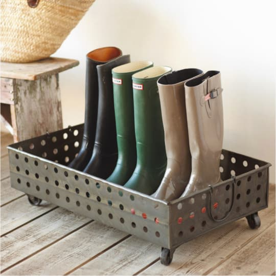 Rolling Metal Boot Tray