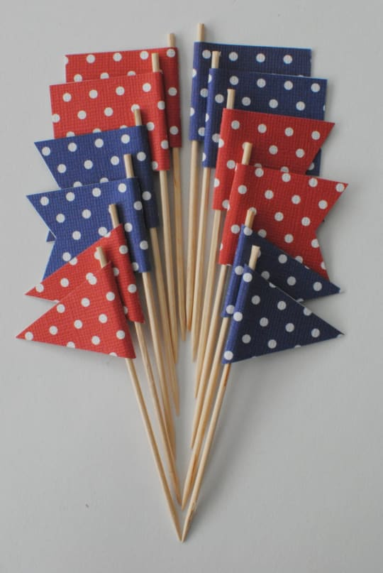 Red & Blue Cupcake Flags from M Paper Designs