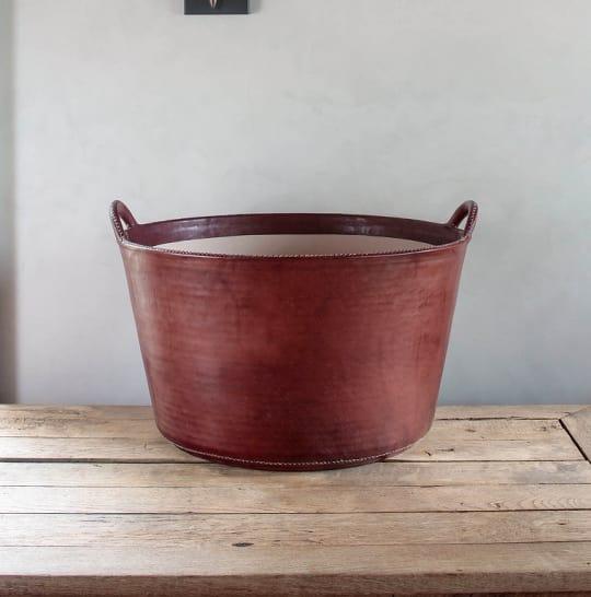 Large Leather Basket by Sol y Luna