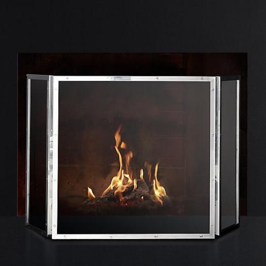 Courchevel Tri-Panel Glass Fireplace Screen by RHModern