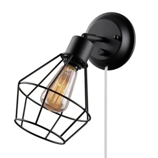 Globe Electric 1-Light Black Shade Plug-in Wall Sconce