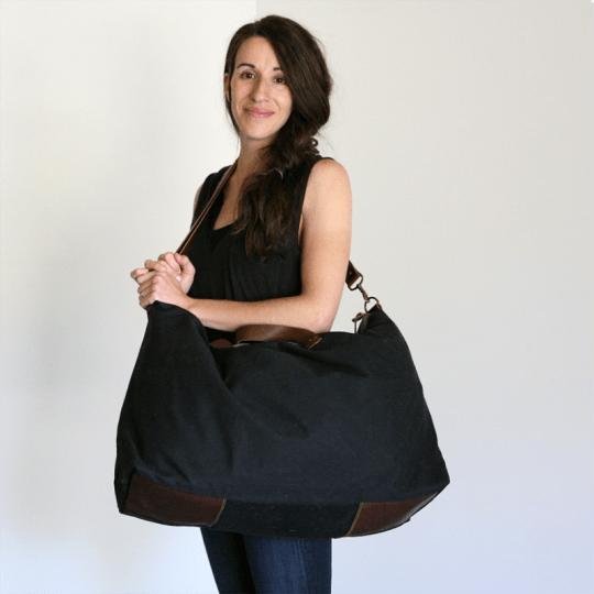 Waxed Canvas Weekend Bag-Black at Kith & Kin
