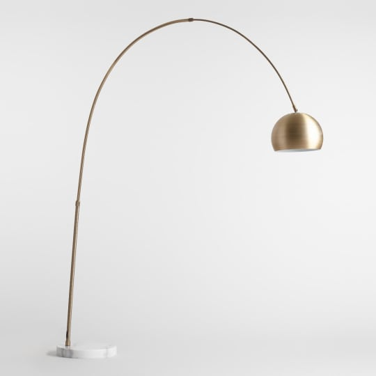 Brass Arc and Marble Jayson Floor Lamp at World Market