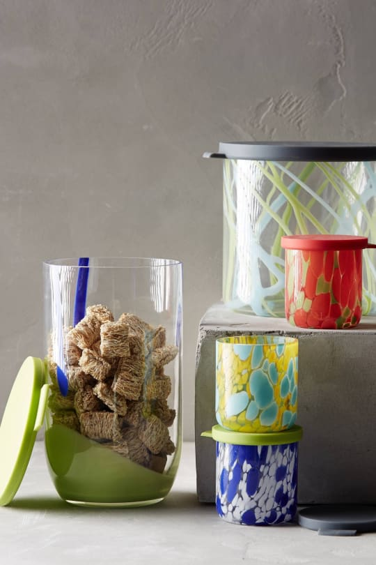 Painted Glass Food Storage Containers from Anthropologie