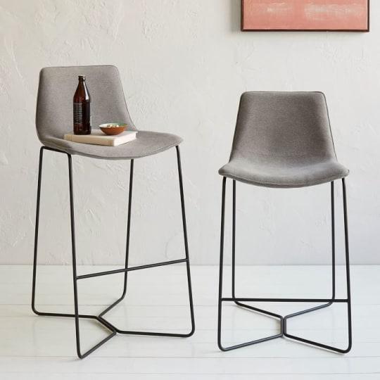 Slope Upholstered Bar + Counter Stools