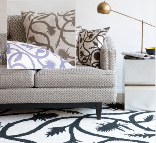 Thistle Vine Rug and Pillows