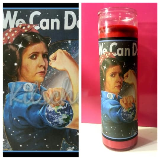 Princess Leia / Rosie the Riveter prayer candle from Kitschup Creations