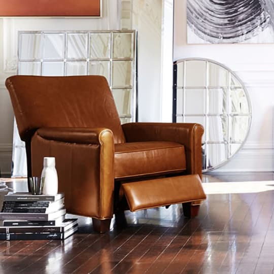 Irving Leather Recliner at Pottery Barn