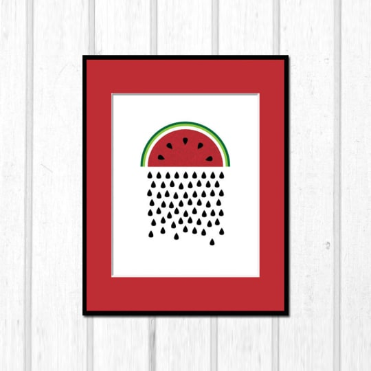 Raining Watermelon Seeds Poster from Stray Squirrels