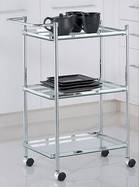 Rolling Serving Cart with Glass Shelves