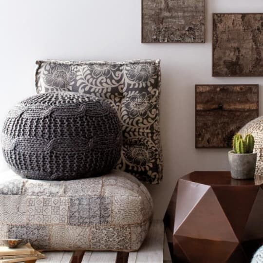 Charcoal Heather Gray Sweater Pouf at World Market