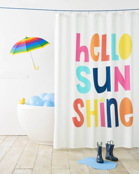 Hello Sunshine Shower Curtain White