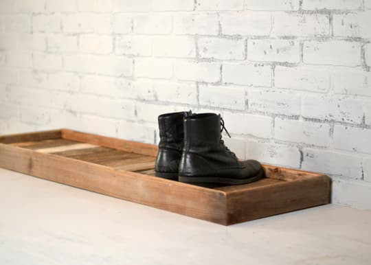 Customizable Reclaimed Wood Boot Tray