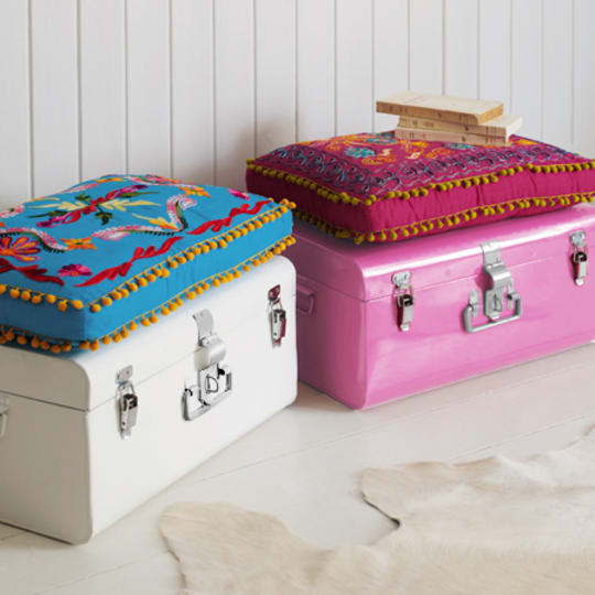 Colourful Metal Storage Trunk & Seat