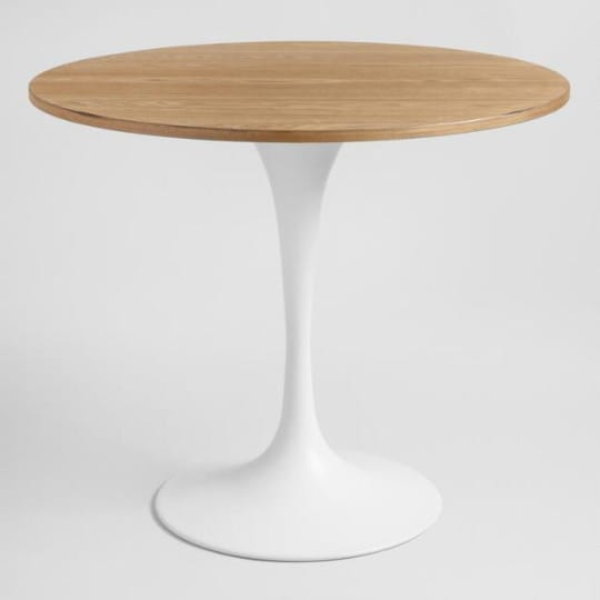 Wood And White Metal Leilani Tulip Dining Table at World Market