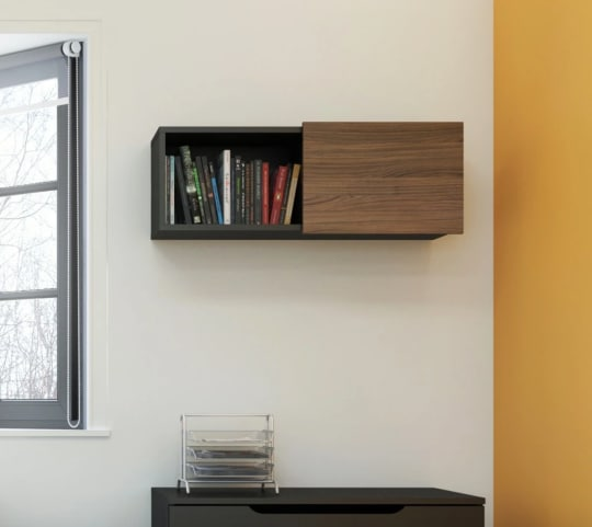 Nexera Black and Walnut Cabinet at Hayneedle