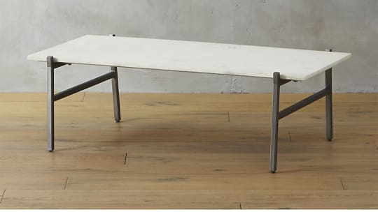 Slab Marble Coffee Table with Antiqued Silver Base by CB2