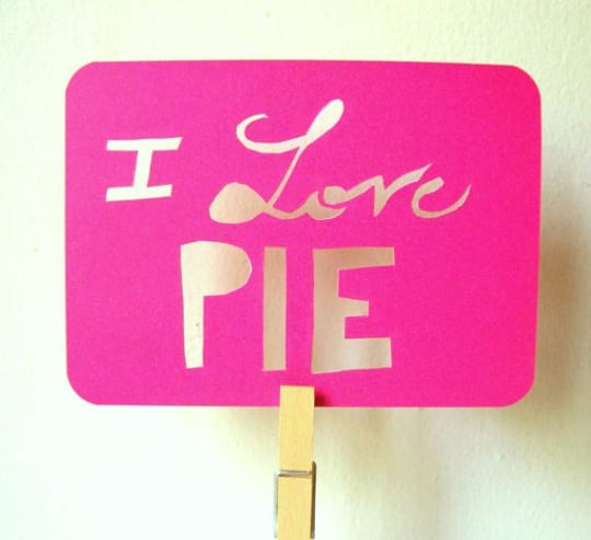 I Love Pie Papercut Card from Ashley Pahl