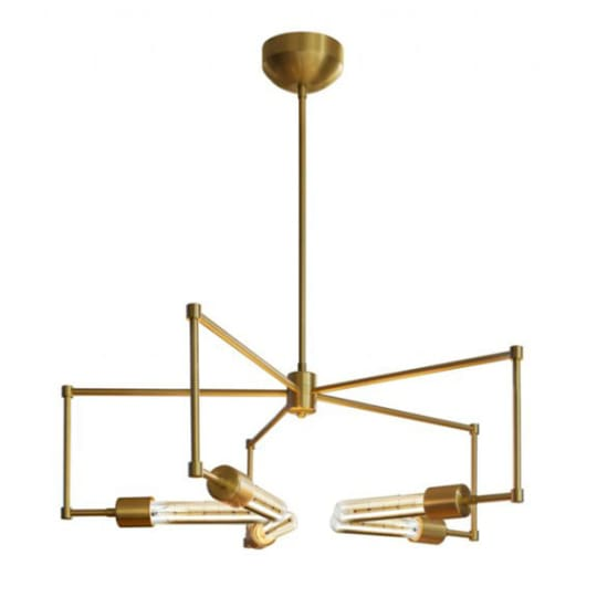 Boomer T9 Chandelier in Brushed Brass at Lightology