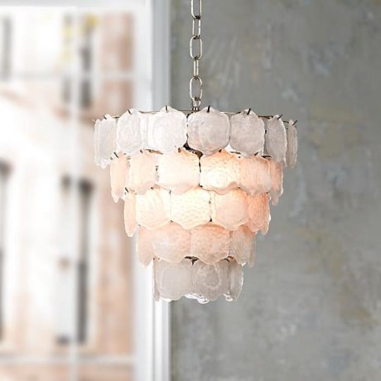 "Glass Chip 12"" Wide Small Chandelier"