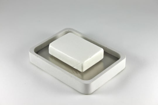 Concrete and Stainless Steel Soap Dish by Zeitgeist Factory