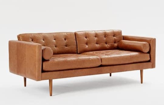 Monroe Mid-Century Leather Sofa