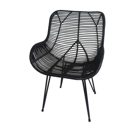 Wicker Accent Chair in Black