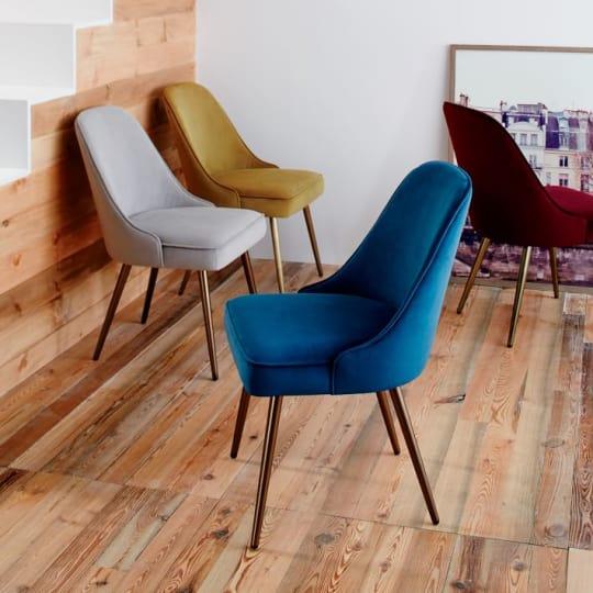 Mid-Century Upholstered Dining Chair - Velvet at West Elm