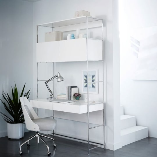 "Lacquer Storage 49"" Vertical Desk, White Lacquer/Polished Nickel"