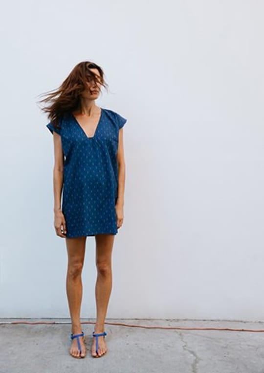 Geometric Neckline Indigo Dress