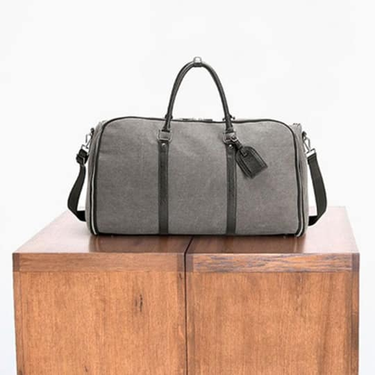 The Charcoal Canvas Weekender Garment Bag at Combat Gent