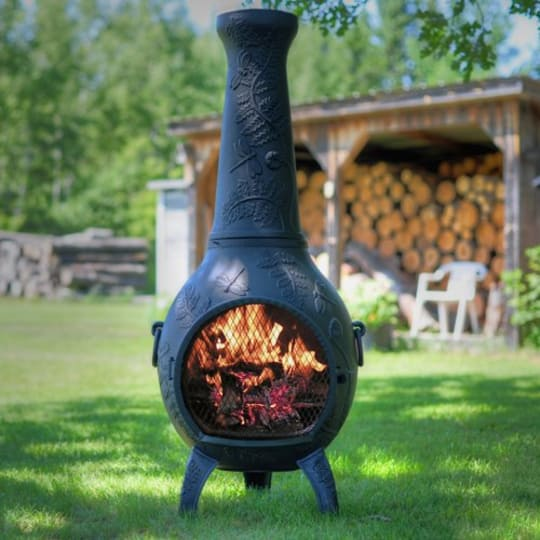 The Blue Rooster Dragonfly Chiminea in Charcoal at Amazon