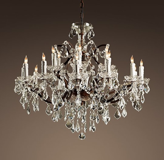 19th C Rococo Iron & Clear Crystal Chandelier