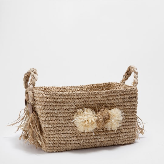 Rectangular Basket with Handles and Pompoms