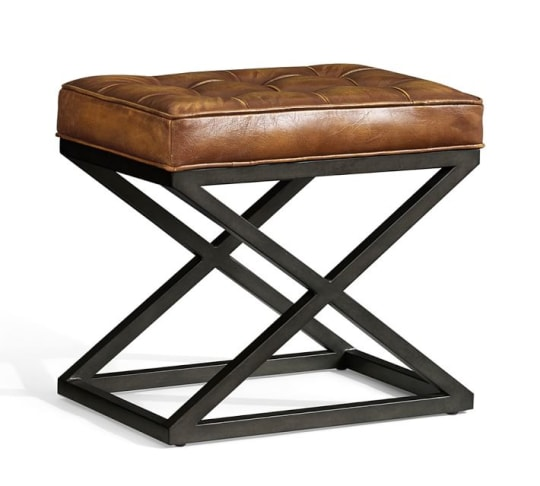Pottery Barn Kirkham Tufted Leather X-Base Stool