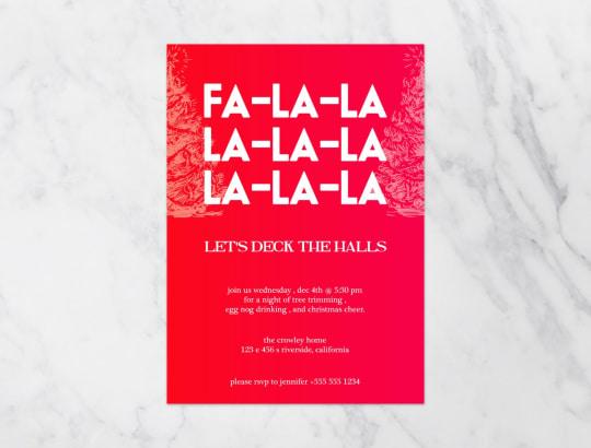 Fa La La Deck The Halls Printable Invitation from Kinvite