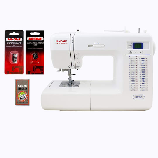 Janome 8077 Computerized Sewing Machine with Accessories