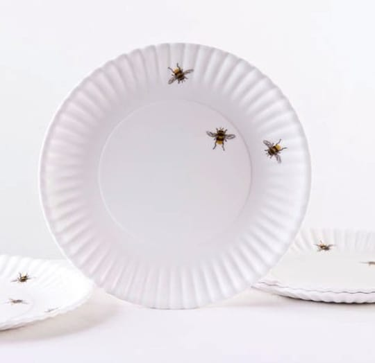 """Melamine """"Paper"""" Plates with Bees and Ants"""