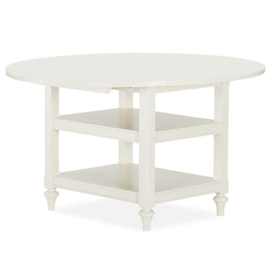 "Shayne Round Drop-Leaf Kitchen Table, 49"" x 26"", Antique White"