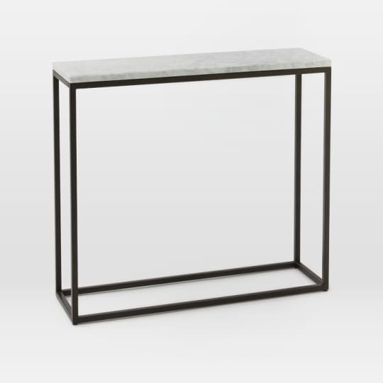 Box Frame Skinny Console in Marble/Antique Bronze at West Elm