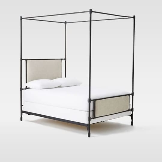 Rhodes Upholstered Metal Canopy Bed at West Elm