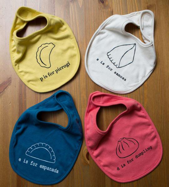 Dumpling, Samosa, Pierogi & Empanadas Baby Bibs by Garbella