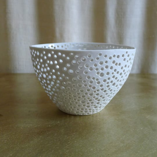 Perforated Porcelain Bowl from Gold Seed
