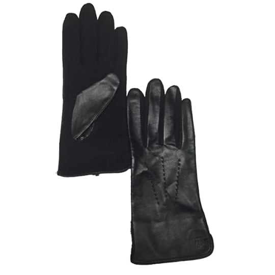 Lauren Ralph Lauren Black Leather & Wool The Touch Gloves