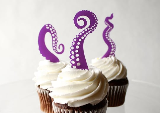 Tentacle Cupcake Toppers from Thick and Thin Designs