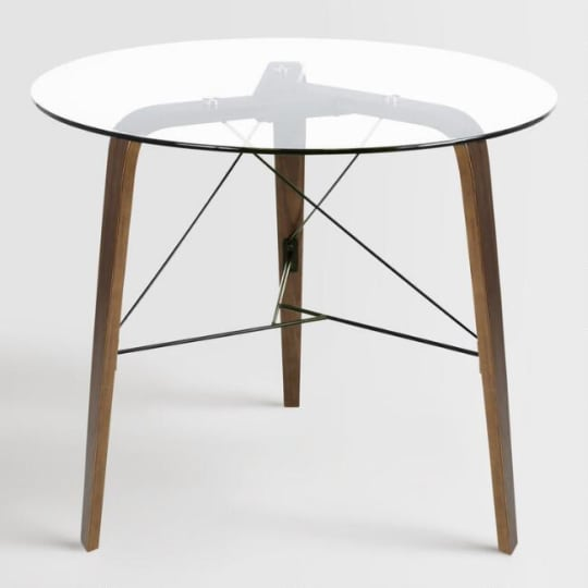 Round Wood And Glass Kirk Dining Table at World Market